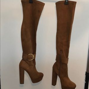 Shoes - Camel Size 8.5 Faux Suede Over the Knee Boots - 1D